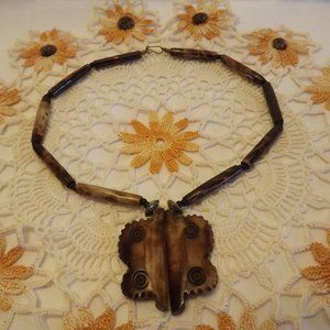 Vintage African Golden-Tone Wood Butterfly Pendant
